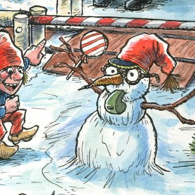 Uddrag fra julemærket 2017. Nisserne driller ledvogteren - Excerpt from the Christmas stamp Sheet 2017. The pixies teases the caretaker