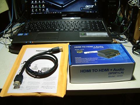 ポチったのは、HDMIケーブルとHDMI TO HDMI + Audio Model:AY60でございます。