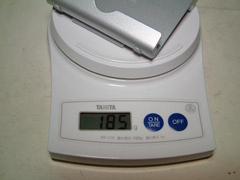 本体は185グラム!ちょっと重めだけど、その分安定しますね。