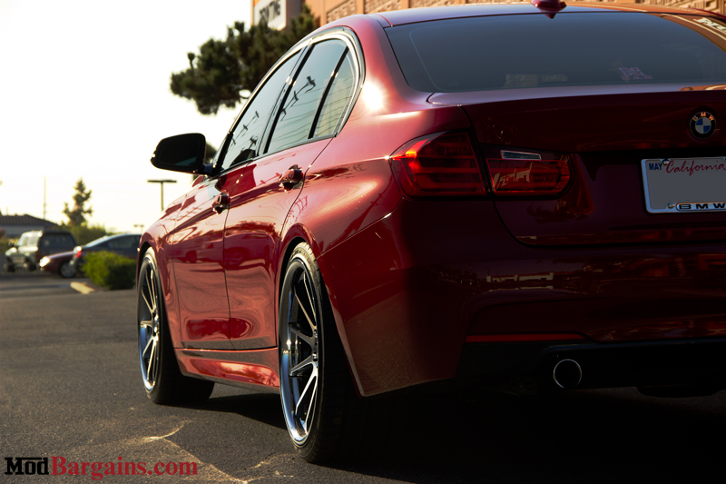 Red BMW 335i F30 Side Rear