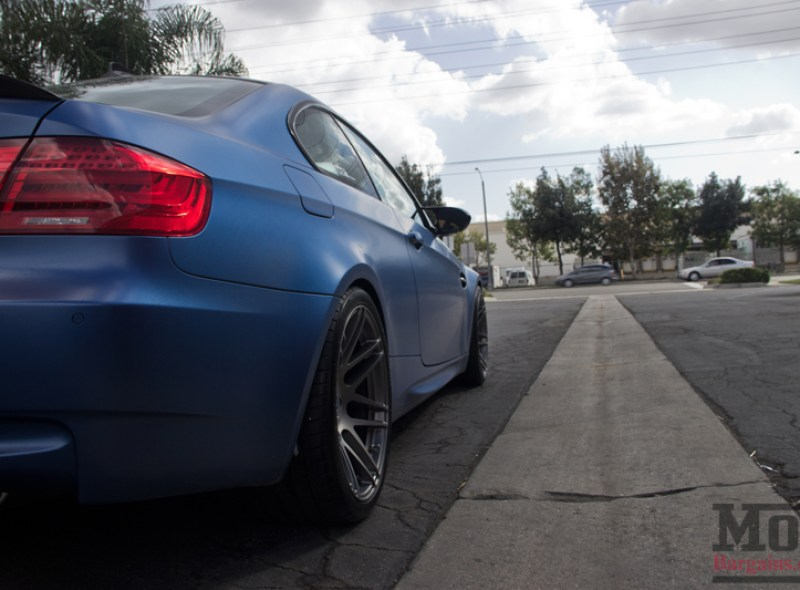 Matte Frozen Blue BMW M3 on Super Deep F14 Wheels Rear
