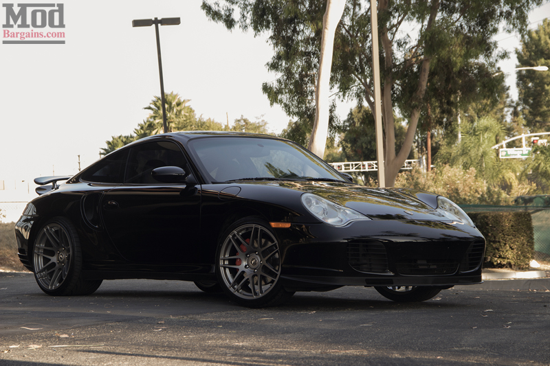 Black 2004 Porsche 996 Turbo Front Forgestar