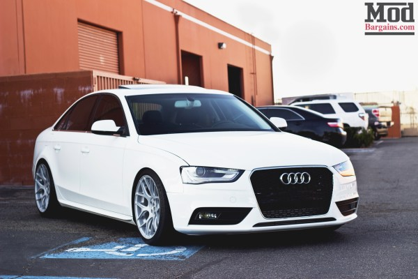 Quick Snap: White Audi A4 on Avant Garde M590 Wheels with AWE Exhaust