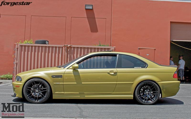 BMW E46 M3 Dakar Yellow Forgestar F14 Matte Black 19x9 19x10 (10)