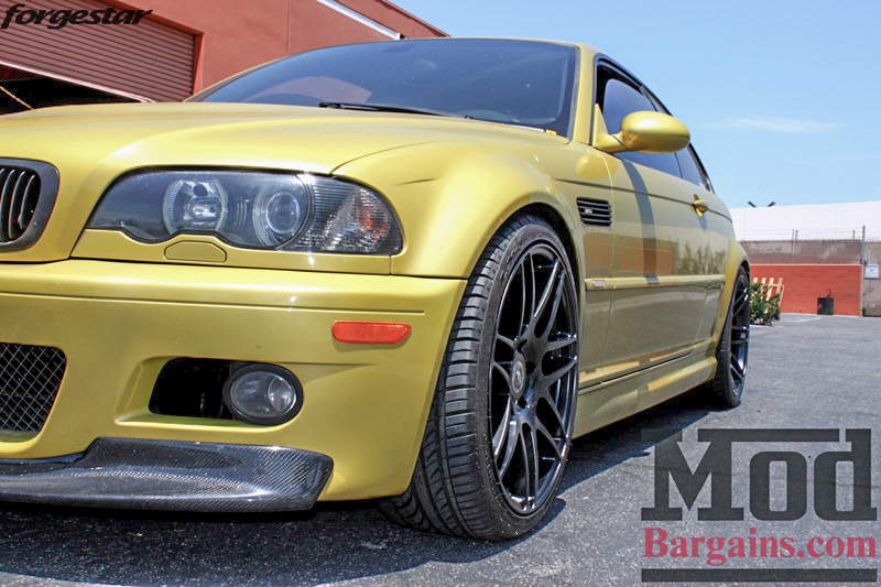BMW E46 M3 Dakar Yellow Forgestar F14 Matte Black 19x9 19x10 (9)