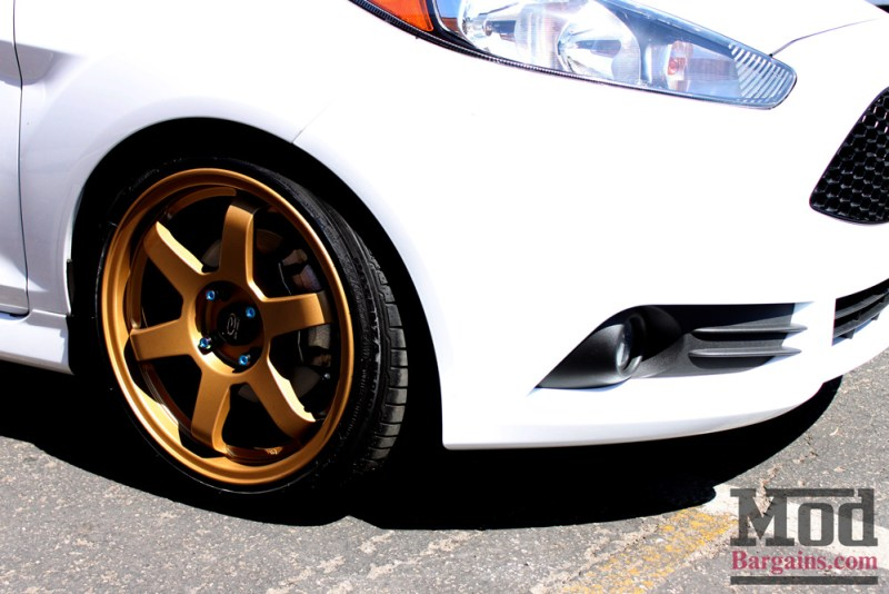 White Ford Fiesta ST Gold Wheels