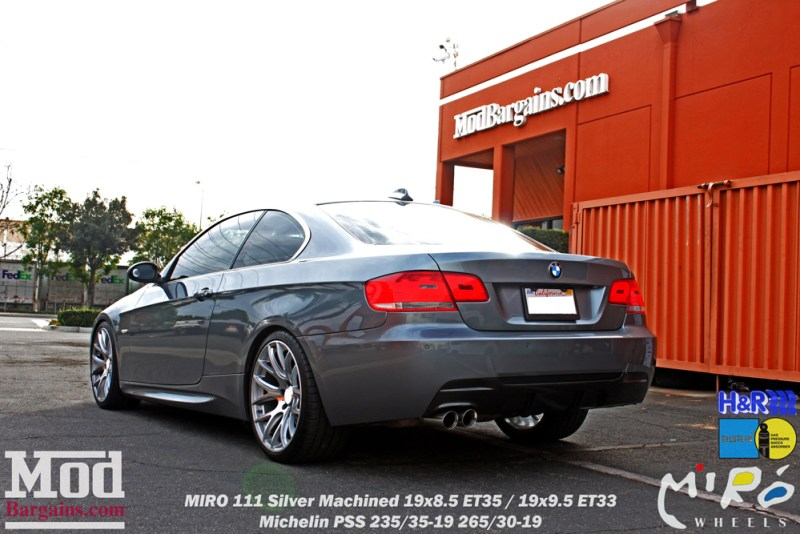 BMW_E92_328i_Gray_CF_Performance_Diffuser_BilsteinShocks_Miro_111_wheels_silver_19x85et35_19x95et33_HRSprings_img009