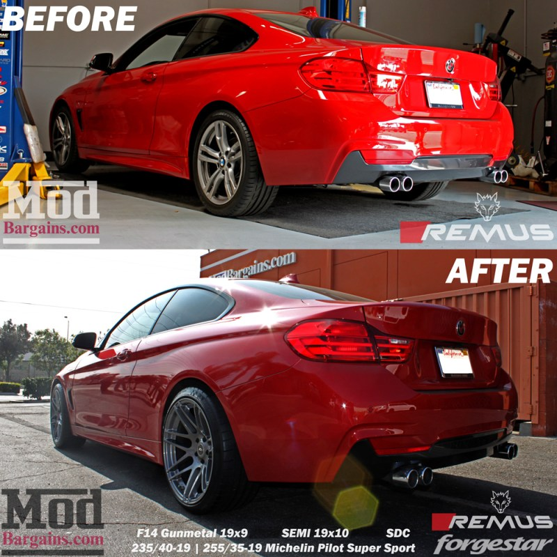 BMW_F32_428i_Red_Remus_Quad_Forgestar_F14_19x9et12_19x10et-19_GM_jurrian-cust-beforeafter2