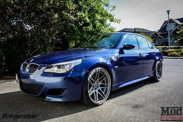 Quick Snap: Canada Steve's BMW E60 M5 Blue Forgestar F14 Super Deep Concave Wheels