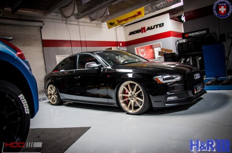 B8 5 Audi S4 on HREs gets AWE Tuning Exhaust & AP BBK