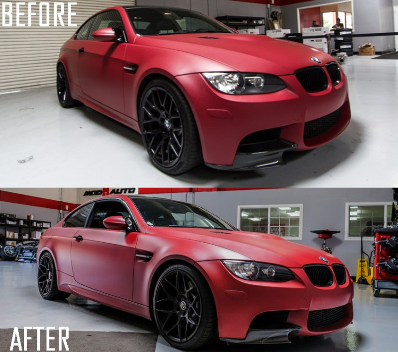 BMW_E92_M3_Matte_Red_Temoor_HRE_FF01_Tarmac beforeafter