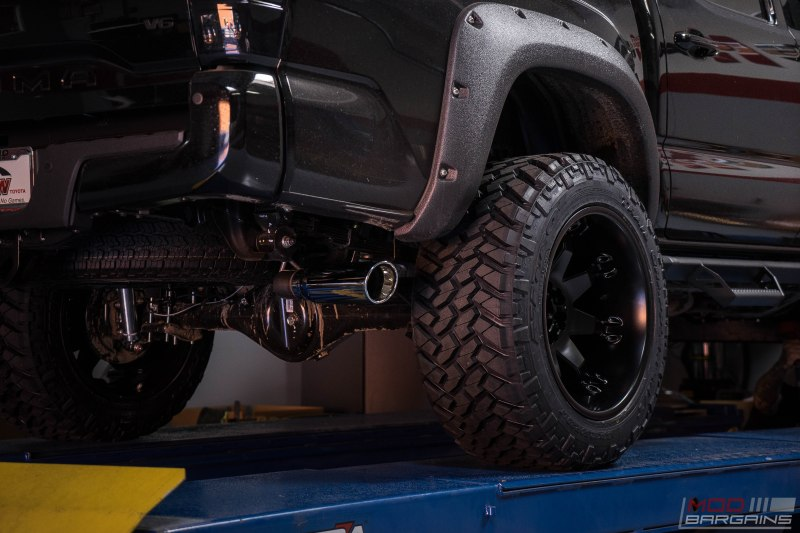 toyota tacoma murdered black trd offroad fuel offroad nitto trail grappler magnaflow exhaust pro comp lift kit diode dynamics LED