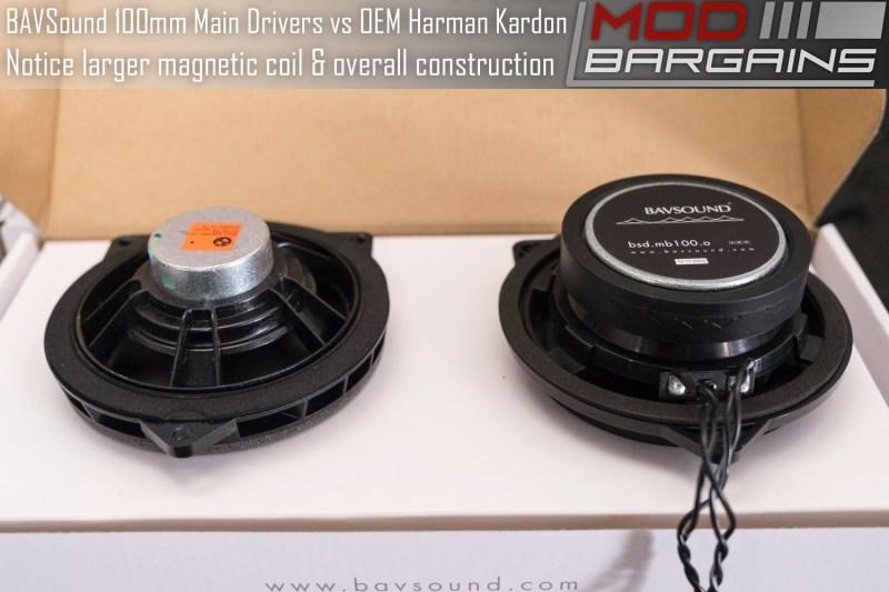 BAVSound Stage One 100mm Main Driver Upgrade vs OEM Harmon Kardon