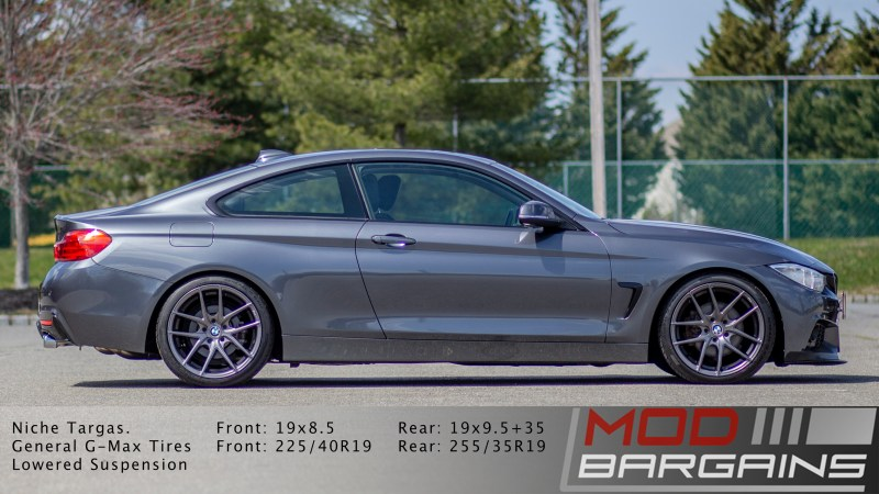 BMW 428i side shot with m-sport bumpers on niche m-129 wheels
