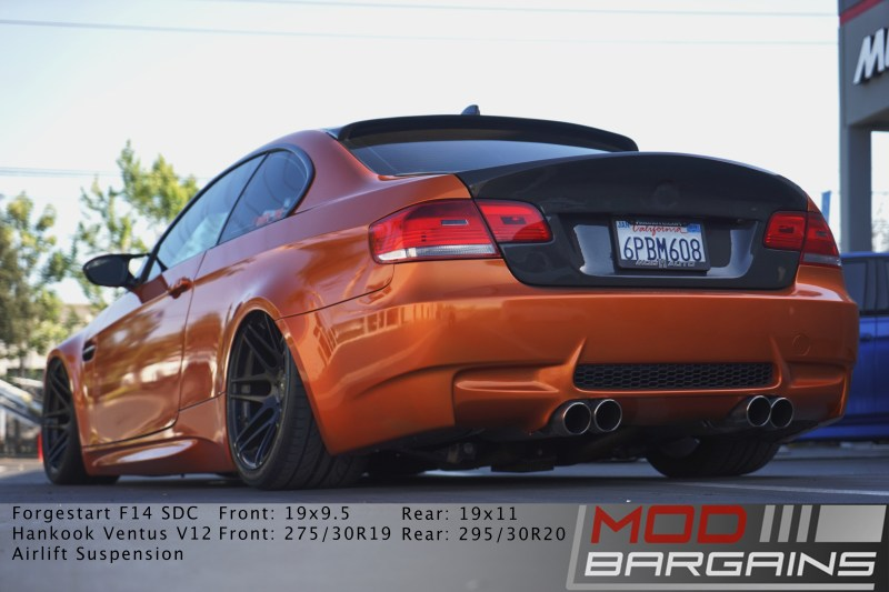E92 M3, Rear end, Carbon Fiber, Forgestar, Bagged, Borla exhaust