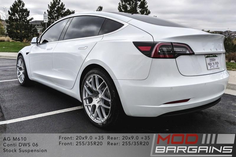 White Tesla Model 3 on Avant Garde (AG) M610 20x9.0 et35 front and rear
