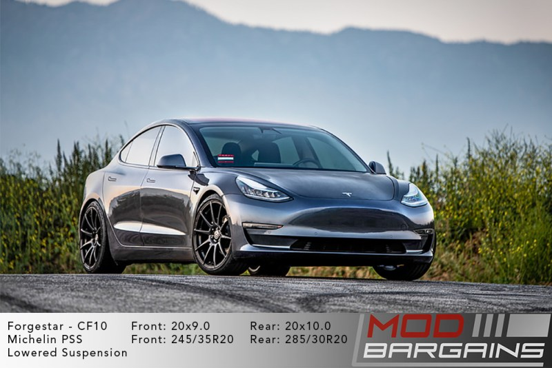 Tesla Model 3 on Forgestar CF10 - 20x9.0 front and 20x10.0 rear