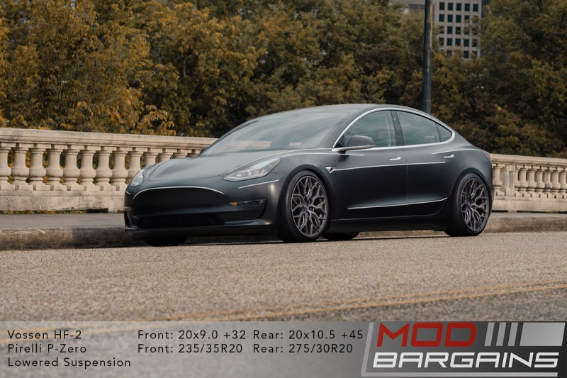 Tesla Model 3 on Vossen HF-2 20x9.0 +32 front and 20x10.5 +45 rear