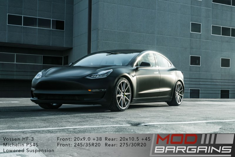 Tesla Model 3 on Vossen HF-3 20x9.0 +38 front and 20x10.5 +45 rear