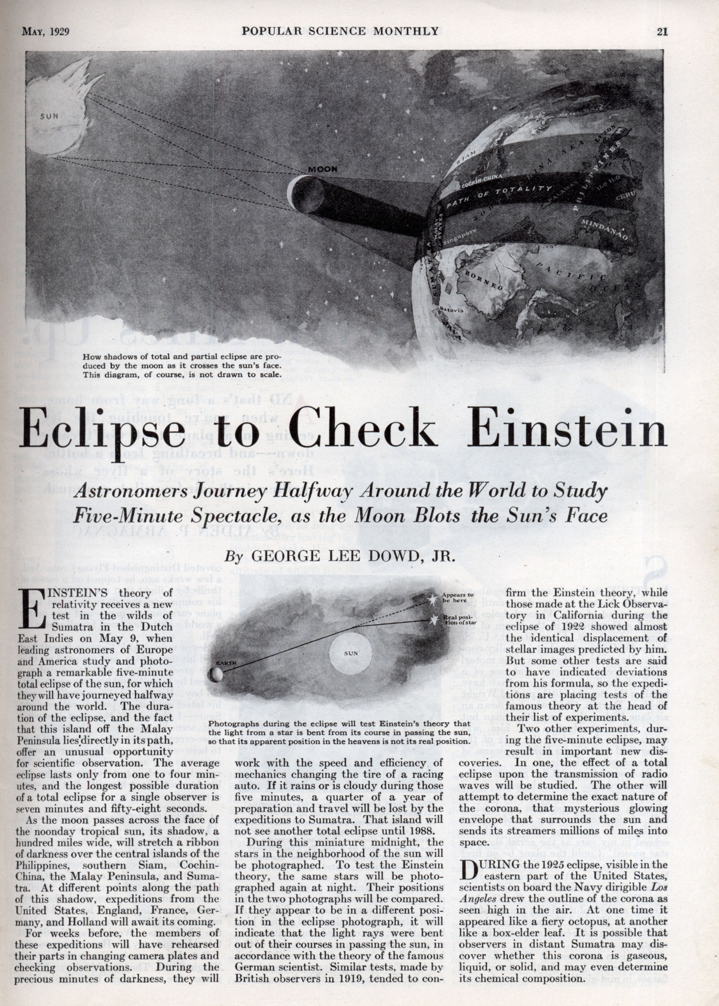 ... Of The Eclipse Of May 29th, A Slide Was Thrown Upon The Screen To  Illustrate The Result Of The Observations That Were Said To Verify Einsteinu0027s  Theory.