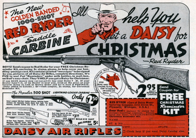 A Red Ryder BB Gun with a Compass in the Stock & a Thing Which Tells Time.