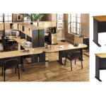 Office set up with modular office furniture and desks