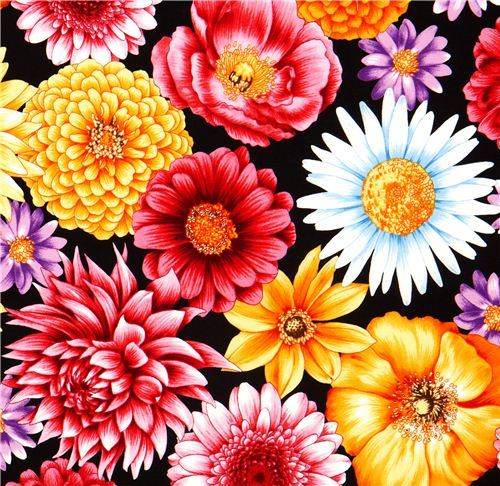black fabric big colourful flowers Robert Kaufman