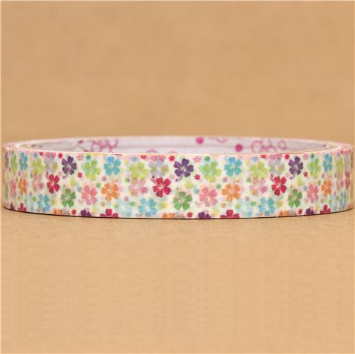 cute Sticky tape with many colourful flowers kawaii