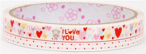cute Deco Sticky Tape many hearts with teddy bear