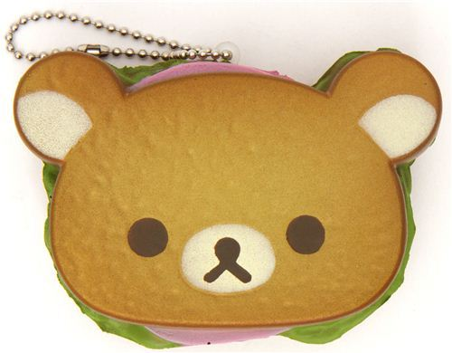 Rilakkuma bear sandwich bread squishy cellphone charm