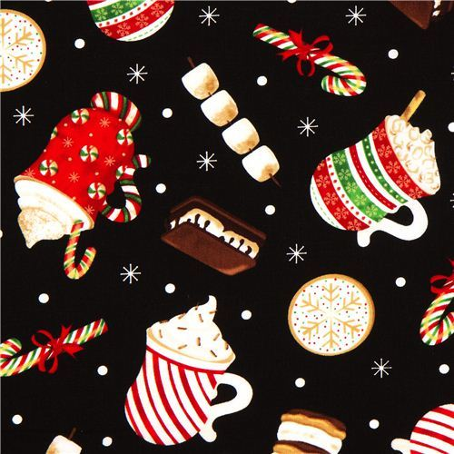 black designer Christmas fabric with Christmas treats