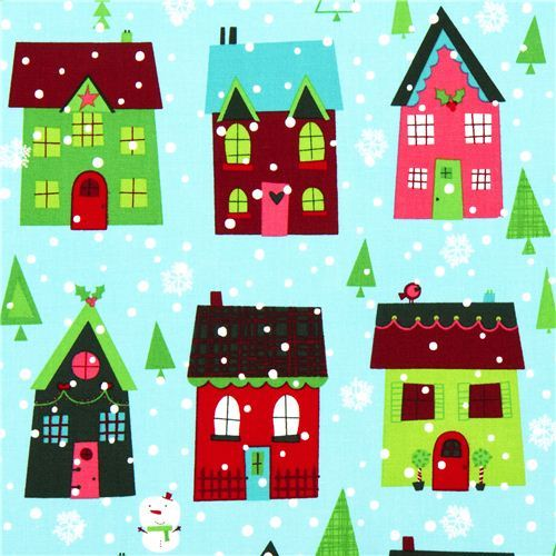 light blue Robert Kaufman Christmas fabric snowman house