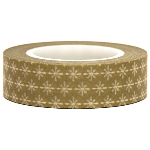 olive-green Washi Masking Tape deco tape white pattern
