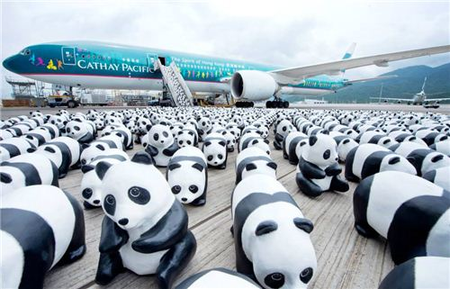 1600 Pandas arriving in Hong Kong with Cathay Pacific - a Hong Kong based airline