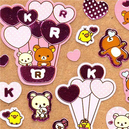 pink Rilakkuma bear stickers with hearts balloons dots