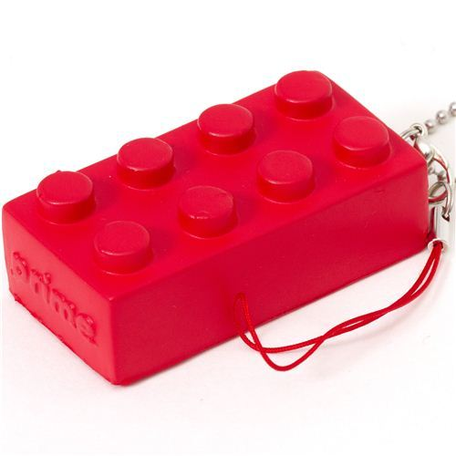 funny red squishy building block phone strap