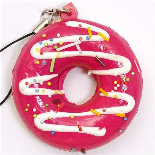 pink donut squishy charm white sauce sprinkles