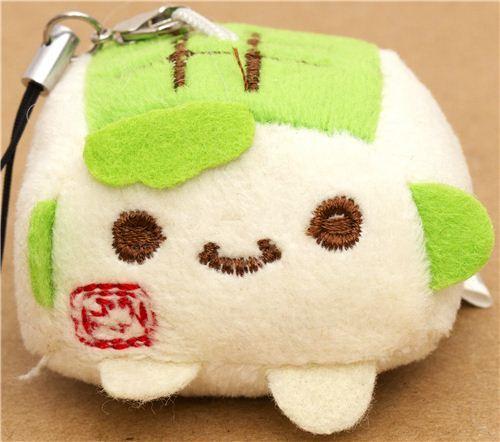 green Hannari Tofu plush cellphone charm Japan kawaii