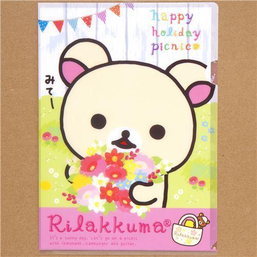 Rilakkuma A4 plastic file folder white bear flowers