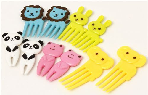 kawaii animal food picks for Bento Lunch Box elephant lion