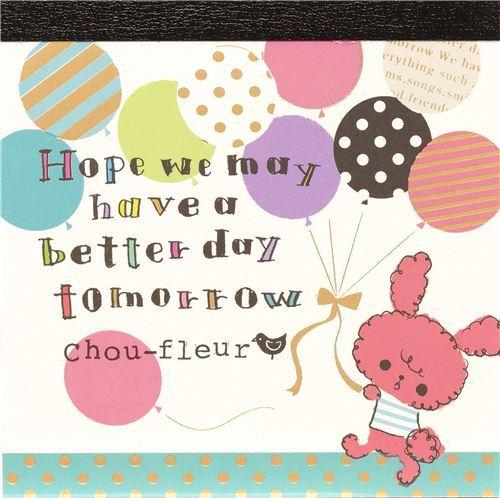 chou-fleur rabbit mini Memo Pad with balloons