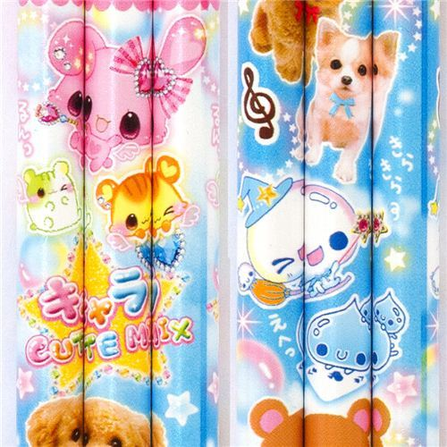 blue pencil with 7 colours and puppy bear bunny