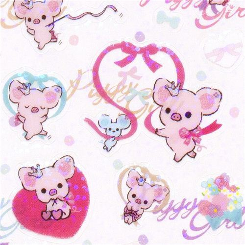 Piggy Girl stickers with pink pig heart ribbon