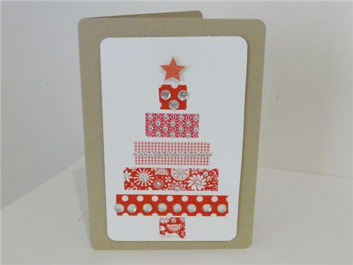 hootsandkisses combines Washi Tape and glitter stones for this beautiful card