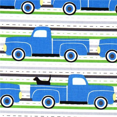 car fabric with blue Pickup trucks dog Robert Kaufman