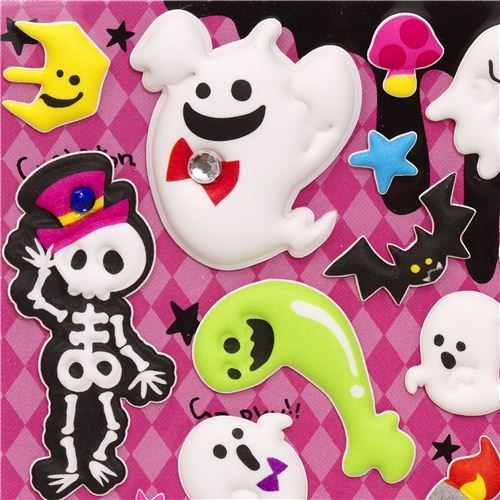 Halloween ghosts and skeleton sponge stickers from Japan