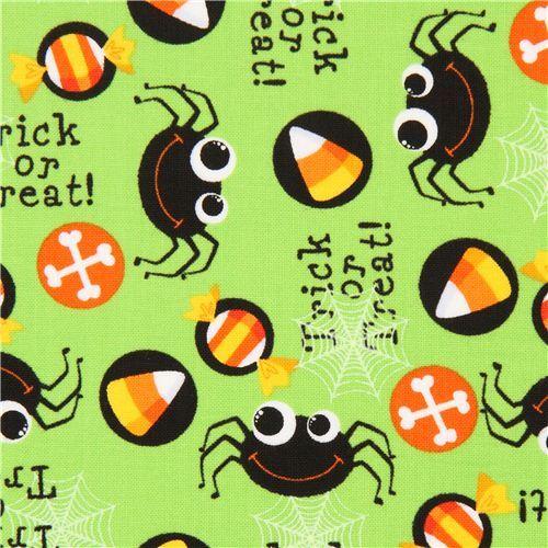lime green Halloween spider fabric Timeless Treasures USA
