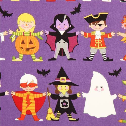 purple Halloween fabric with children Alexander Henry USA