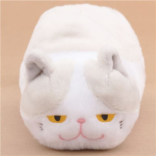 funny white pale grey cat tsuchineko pouch plush toy from Japan