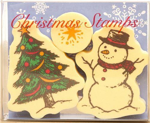 Christmas stamp set 3 pieces snowman Christmas tree